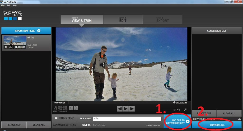 GoPro Studio - convert the photo to a video