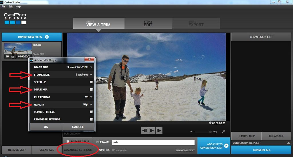 GoPro Studio - photo conversion settings