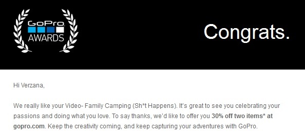 Winning GoPro Awards - confirmation email