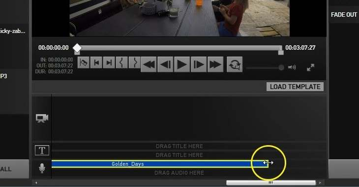 Gopro studio - adjust length of music