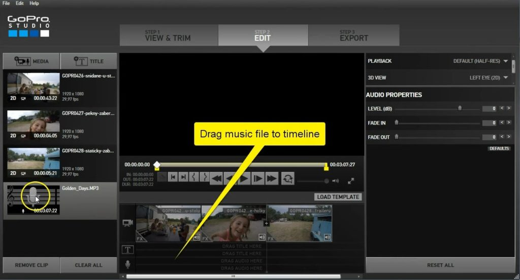 GoPro Studio - drag music file to timeline