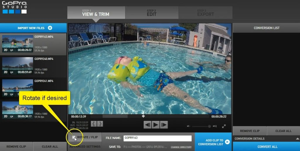 how to import go pro