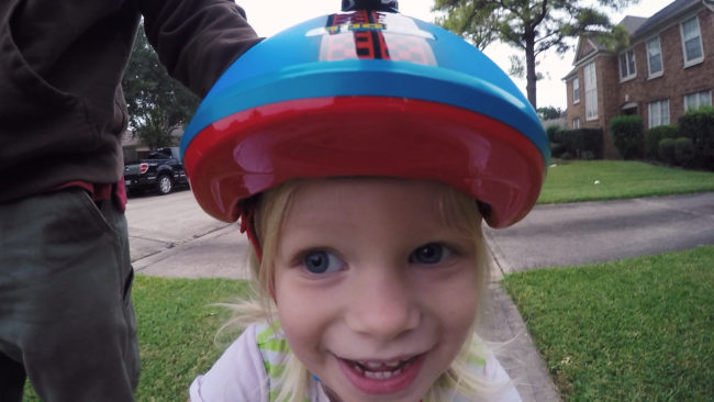 Kid's excited face during the bike ride