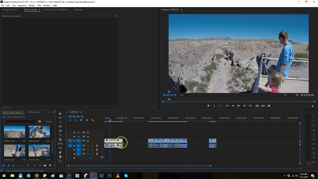 how to delete part of a clip in premiere pro