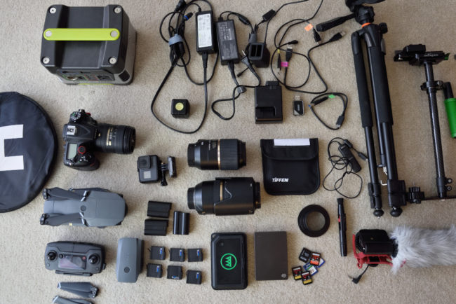 My gear used for filming ultra marathon in the desert